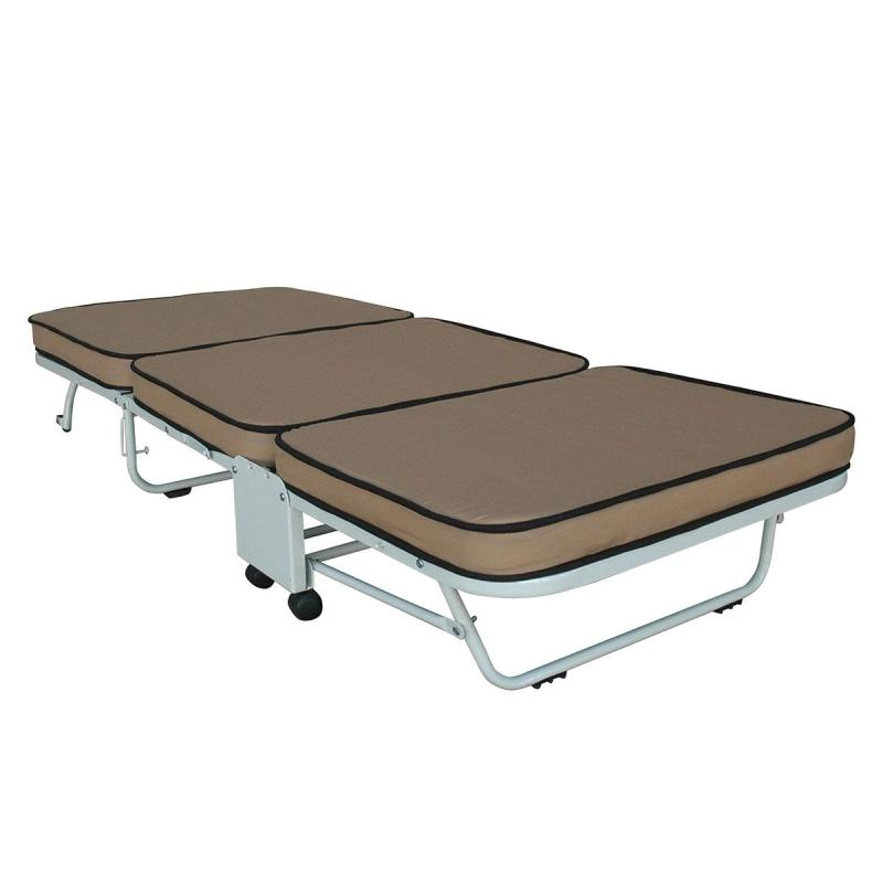 Box Furniture Aster Folding Bed with Mattress (Brown)
