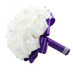 Bridal Wedding Bouquet Crystal Roses With Rhinestone Artificial Flowers (Purple) - intl