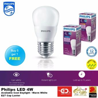 (Buy 5 get 1 Free) Philips LED 4W E27 Luster (Warm White)