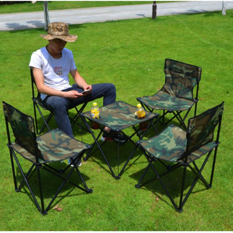 Camouflage foldable and portable table chairs set / oxford textile (5 pcs set : 1 table and 4 chairs)