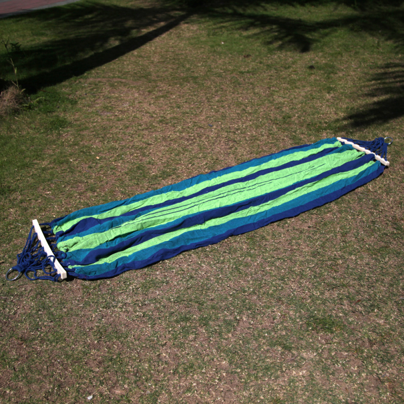 Canvas Double Spreader Bar Hammock Outdoor Camping Swing Hanging Bed Blue