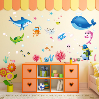 Cartoon Marine Fish Children U0026 39 S Room Waterproof Stickers Wall Stickers Part 45
