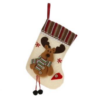 Christmas Stocking Candy Bags Gift Bags Christmas Party Decor(Beige) - intl