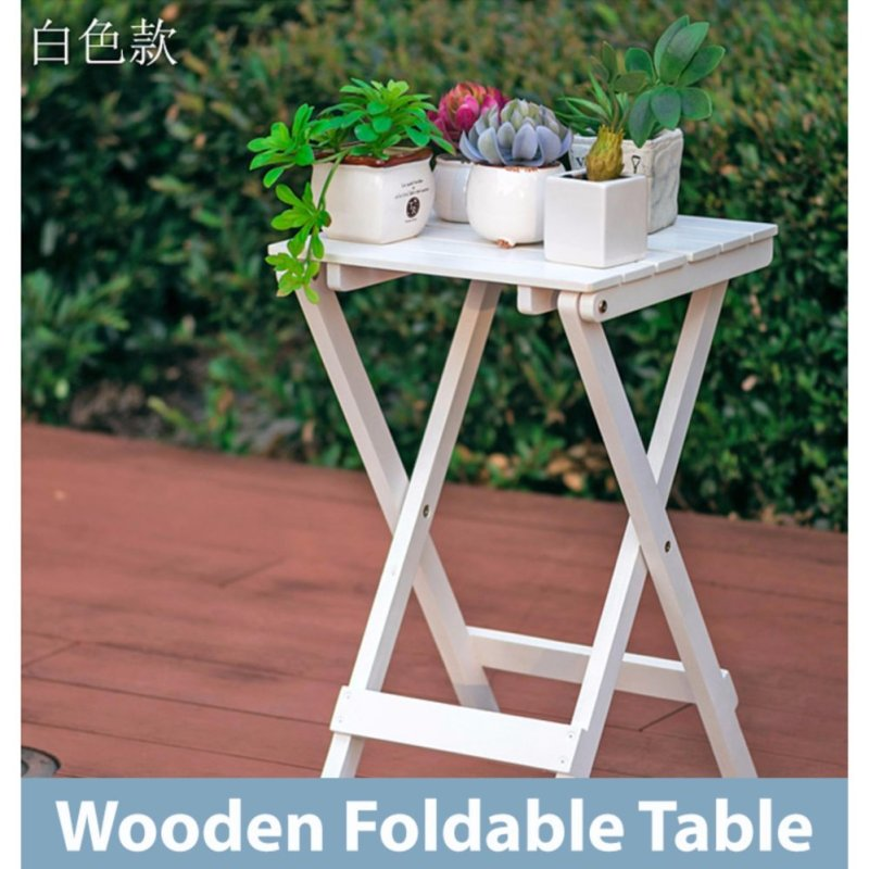 Classic Wooden Folding Foldable Portable Table - White