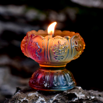 Colorful glass Lotus candle Taiwan ghee Lamp