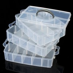 Compartment Box Clear Plastic Storage Organiser Tool Case Jewellery Craft Beads Large