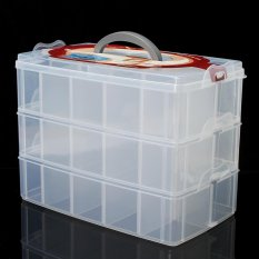 Compartment Box Clear Plastic Storage Organiser Tool Case Jewellery Craft Beads X-Large - intl