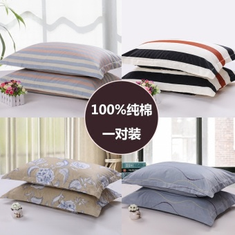Cotton pillow cover single adult students simple striped couple cotton pillowcase pillow cover one pair - 2