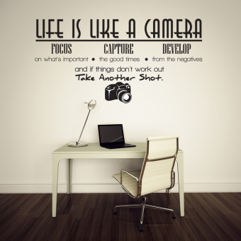 Creative Life Is Like A Camera Quote Wall Stickers Decals Office
