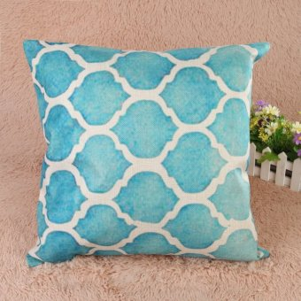 Creative Striped Pattern Cotton Pillow Cover(Blue) (EXPORT) - 2