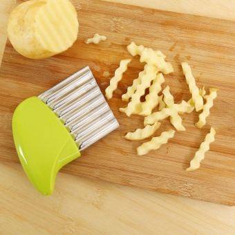 Crinkle Cut Potato Chip Cutter With Wavy Blade French Fry Cutter - intl