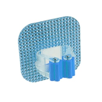 Crystal Square Hook Mop Holder Wall Mounted Suction Cup Rag Broom Mop Rack - Blue - intl