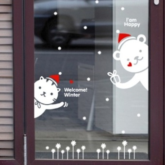 Cute Bear cat glass stickers Christmas New Year festive decorative products stickers paper flowers baby pet shop door stickers