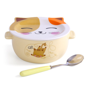 Cute with lid large home instant noodles bowl of instant noodles bowl