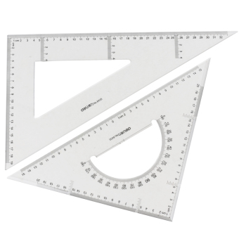 Deli 6445 triangle ruler 40 cm male points cm triangle rulerdrawing instrument ruler transparent ruler set square suit