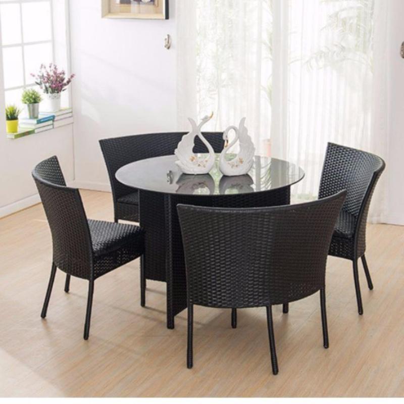 Dining Table Set Round (1+4) Black