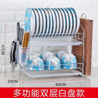 Double Layer wall storage rack stainless steel dish rack