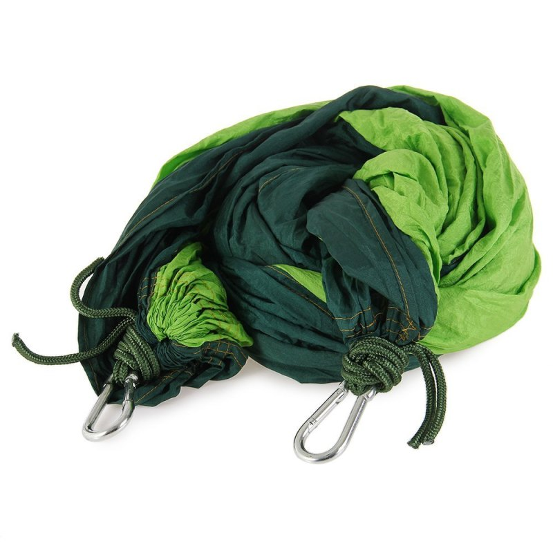 Double Person Assorted Color Portable Parachute Nylon Fabric Hammock for Indoor Outdoor Use (GREEN)