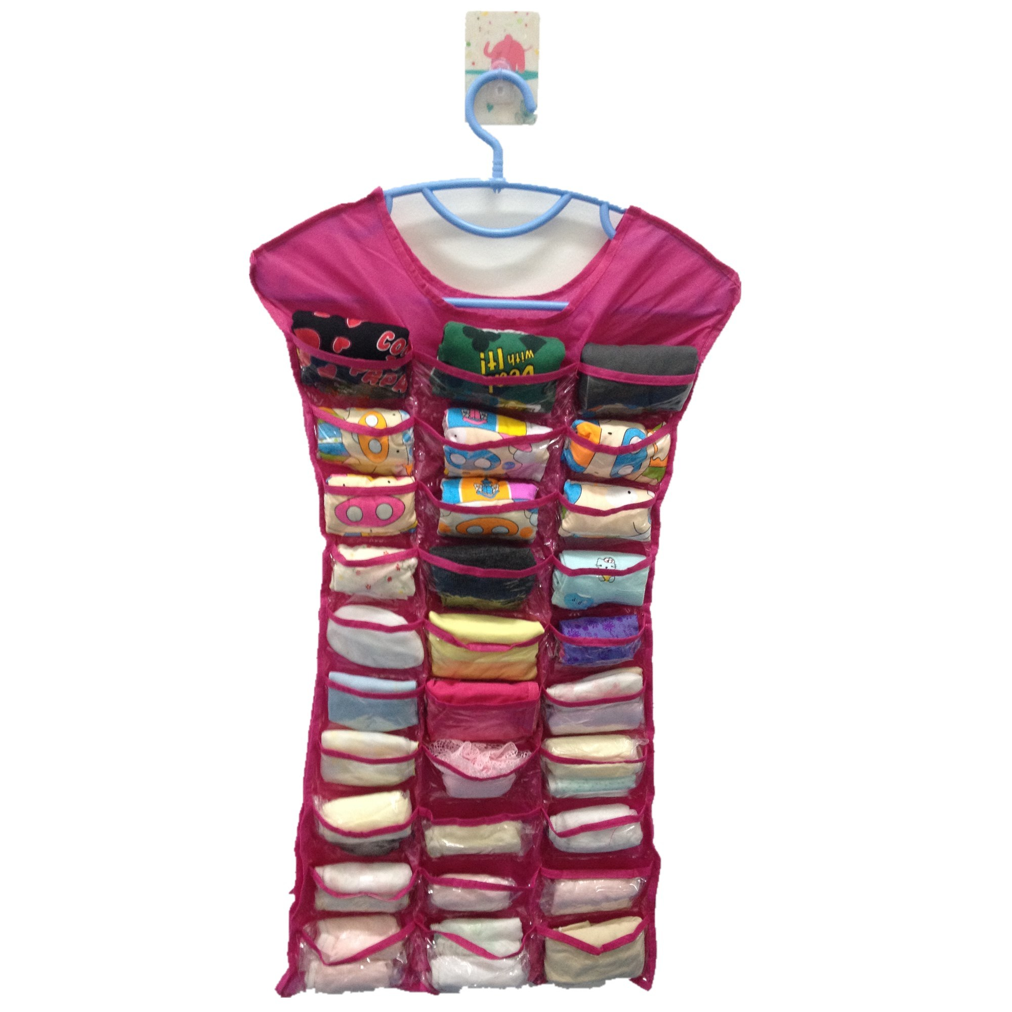 Hanging Necklace Organizer Dress Hanging Jewelry Organizer 30 Pocket Double Sided Pink