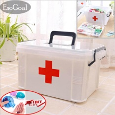 EsoGoal Family Medicine Cabinets Medical Box First Aid Kit Plastic Storage with Removable Tray,Free Gift pill Case - intl