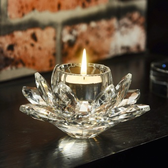 European crystal glass Lotus light butter lamps lamp holder candleSets