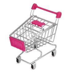 fashiondeal MINI Shopping Cart Kids Toy Creative Desktop Shelves Puff Storage Rack Pink - intl