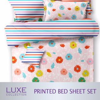 Floral Bed Sheet Set Fitted Bedsheets 4 Sizes Single Super Single Queen King