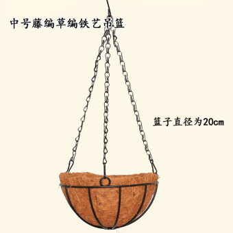 Garden coconut palm wrought iron wall basket pots wall pendant