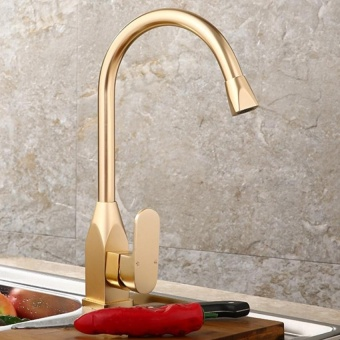 Harga Gold Kitchen Vertical Faucet Space Aluminum Gold Single Handle Hot Cold Water Sink Basin Tap - intl