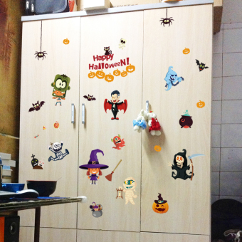 Harga Halloween shop Decorative Sticker Halloween children's bedroomwardrobe window glass stickers double-sided can be removed wallstickers