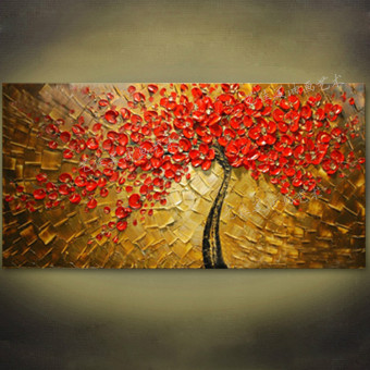 Hand-Painted 3D Red Money Tree Oil Painting