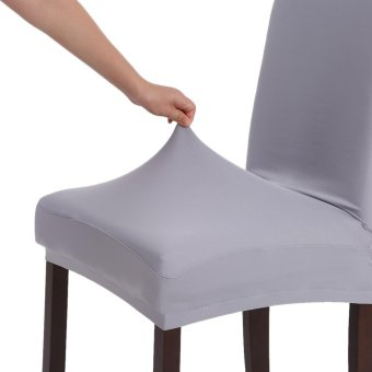 High Quality Stretch Removable Washable Short Dining Chair Cover Soft Milk Silk Spandex Chair Cover Slipcover for Wedding Party Hotel Dining Room Ceremony Chair Seat Covers - intl