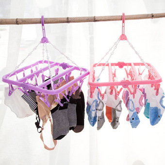 Home can be folding plastic drying hanger multi-function 24 clip hanger wind slip hanging clothes rack Underwear Socks drying rack