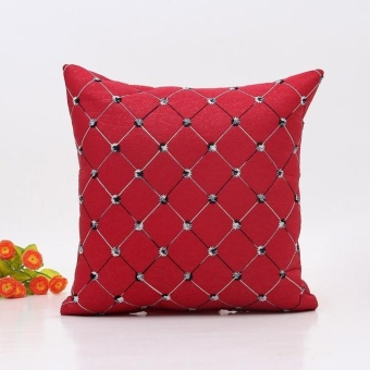 Home Sofa Bed Decor Plaids Throw Pillow Case Square Cushion Cover -Red - intl