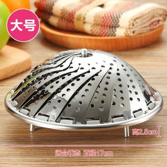 Home steamed bread folding telescopic fruit plate stainless steel steamer