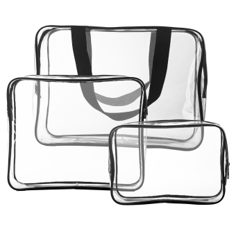 Harga HOMPO 3 in 1 Clear PVC Travel Wash Insert Organizer Bag(Transparent)