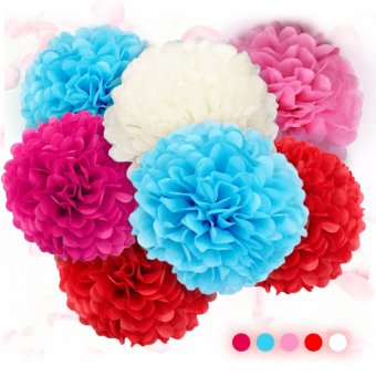 "Harga 30pcs 10"" Party Decorations Ball Tissue Paper Pom Flowers Balls For Festival Wedding(Multicolor)"