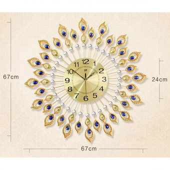 Harga 67*67cm 80 Diamonds 3D Luxury Metal Peacock Living room Wall Clock (Gold)