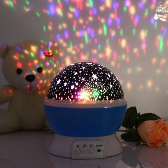 Harga Starry Night Light Lamp,Colorful LED Moon Sky Star Dreamer Night Lights Stars Lighting Lamp Romantic Projector, Rotation Night Projection Lamp For Children Kids Baby Bedroom Blue - Intl