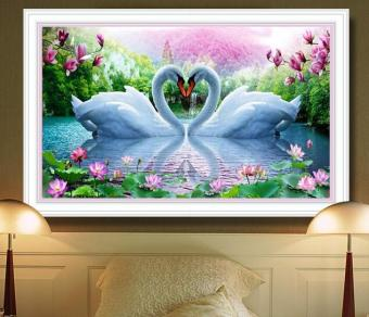 Harga 5D DIY Diamond Painting Needlework Diamond Mosaic Diamond Embroidery swan Pattern Hobbies and Crafts Home Decor Gifts - intl