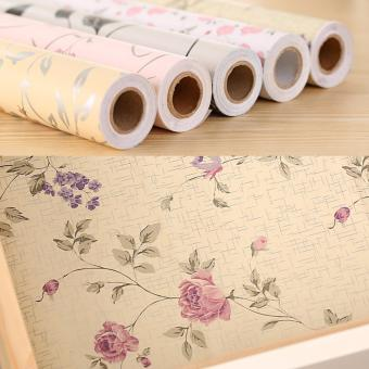 Harga XYS COLLECTION Self-Adhesive Shelf Drawer Liner Non-Slip Moisture Proof PVC Mat 45x200cm, Elegant Flowers - intl