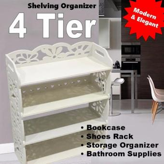 4 Tiers White Storage Organizer Shoes/Book Rack