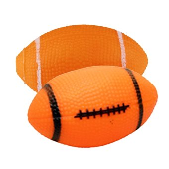 Harga Pet Dog Small Rubber Squeaky Rugby Ball Chew Toy (Orange)