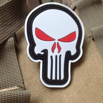 Harga Punisher punishment's super hero skull pirate Satan PVC rubber magic stickers affixed armband patch badge