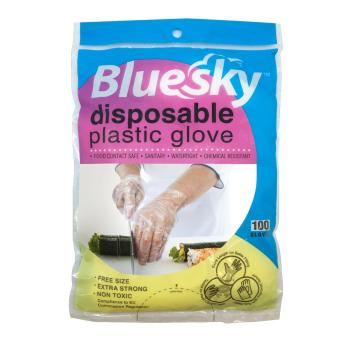 Harga Bluesky Disposable Plastic Gloves 50 Pairs x 10 Packets