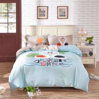 Harga 100% Cotton Bedding Set Perfect Couple white swan set sweet love Bedclothes Prince Charming Twin Queen King New designPerfect Couple white swan set sweet love - intl