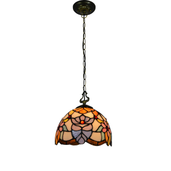 Harga Flower CL08002-P width 8inch high 39inch stained glass tiffany style pandent lamp metal chain - intl