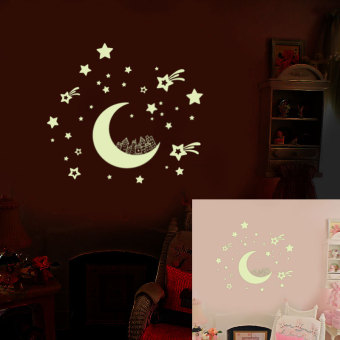 Harga Cartoon moon & stars wall sticker