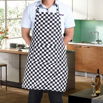 Harga Bib Apron with 2 Pockets Chef Waiter BBQ Restaurant Home Kitchen Cooking Apron Tool Black White Lattice - intl