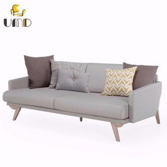 UMD Nordic Minimalism Style Genuine Leather Designer Sofa 1518A (4 Seater/Light Grey)
